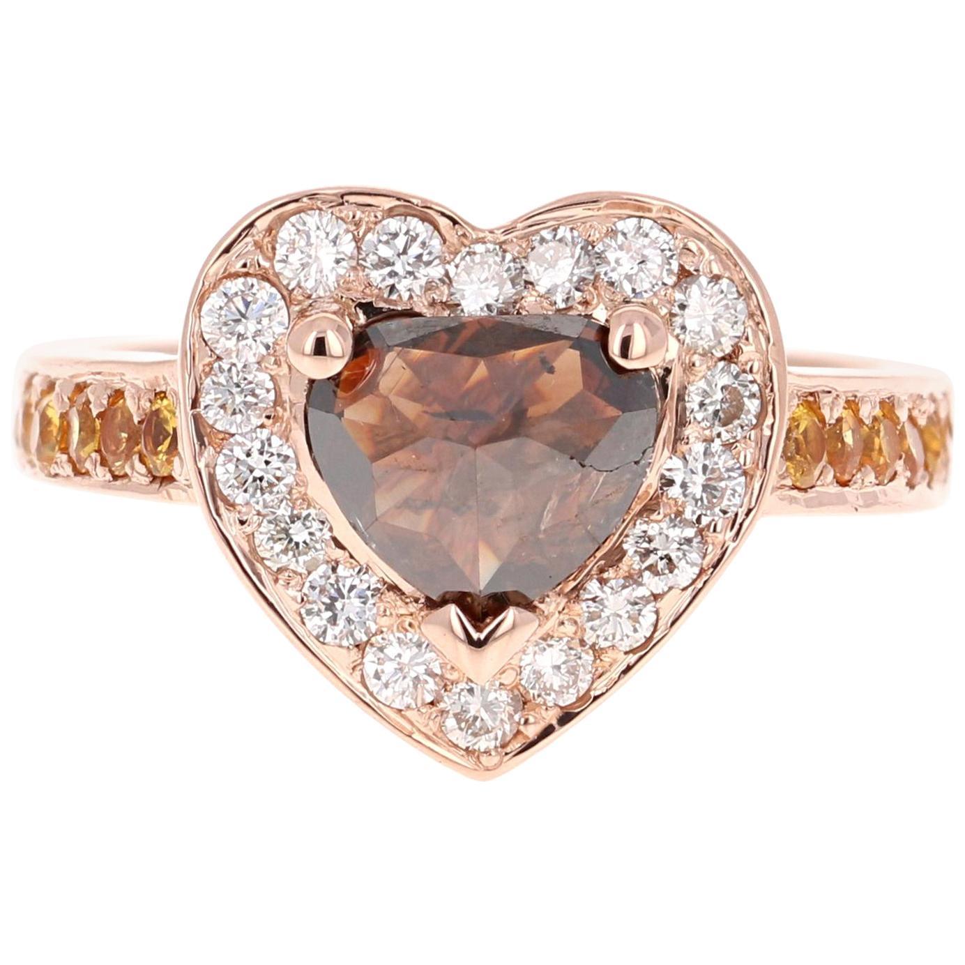 2.43 Carat Heart Cut Fancy Diamond Engagement Ring 14 Karat Rose Gold