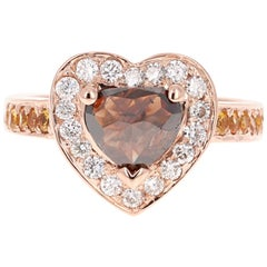 2.43 Carat Heart Cut Fancy Diamond Engagement Ring 14 Karat Rose Gold