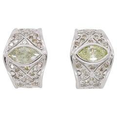 2.43 Carat Marquise Diamond Huggie Earrings