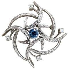 2.43 Carat Natural Sapphire Diamonds Platinum Brooch Vintage Ninja Star Platinum