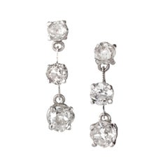 2.43 Carat Old Mine Diamond Thin Bar Style 3 Section Platinum Dangle Earrings