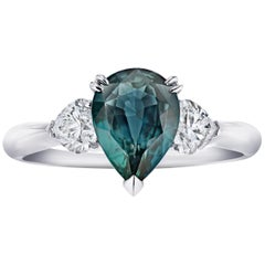 2.43 Carat Pear Shape Bluish Green Sapphire and Diamond Ring