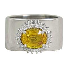 2.43 Carat Yellow Sapphire Diamond Halo 14 Karat White Gold Cocktail Ring