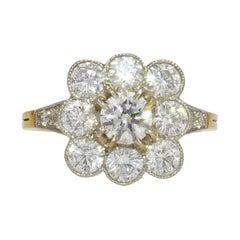 2.43 Carats Diamond 18 Karat Yellow Gold Platinum Daisy Ring