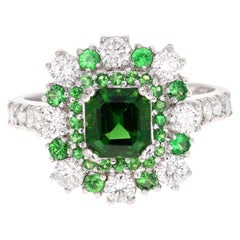 2.43 Tsavorite Garnet Diamond White Gold Cocktail Ring