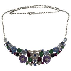 24.30 Carat Ruby Sapphire Emerald Aquamarine Diamond White Gold Flowers Necklace