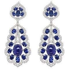 24.36 Carat Tanzanite Diamond 18 Karat Gold Earrings
