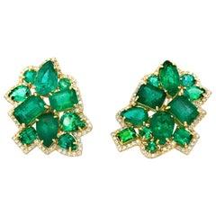24.38 Carat of Emeralds and 1.92 Carat of Diamonds Modern Geometric Earrings