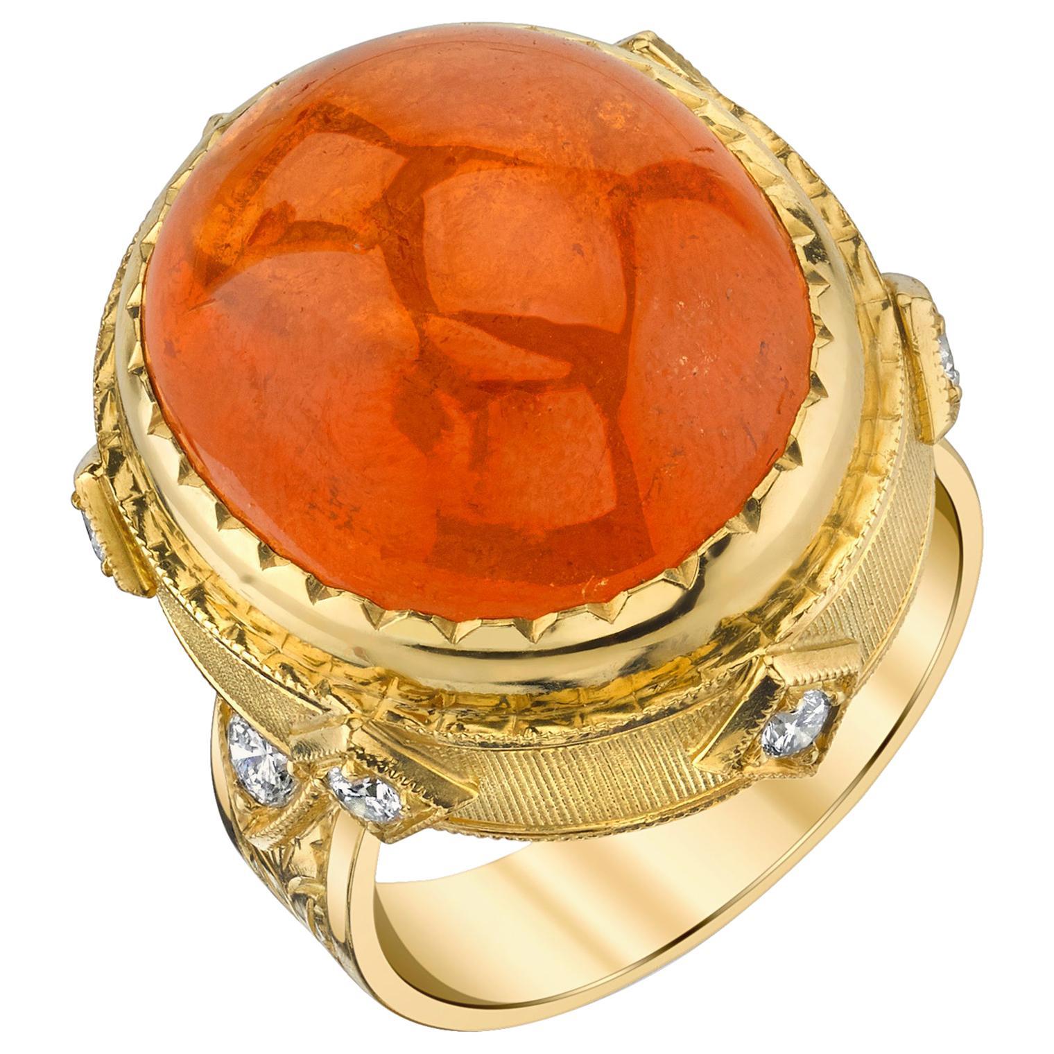 24.39 Carat Spessartite Garnet Cabochon, Diamond Yellow Gold Dome Cocktail Ring