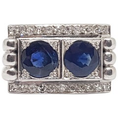 2.44 Carat 18 Karat White Gold Antique Art Deco Diamond Sapphire Ring