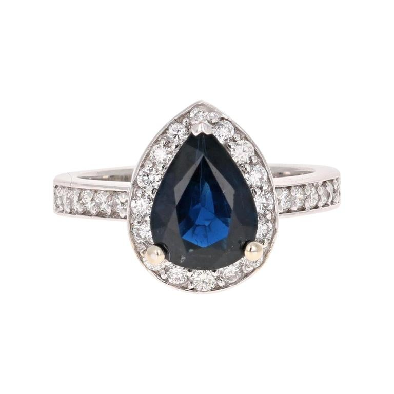 2.44 Carat Blue Sapphire Diamond 18 Karat White Gold Engagement Ring