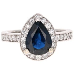 2.44 Carat Blue Sapphire Diamond White Gold Engagement Ring