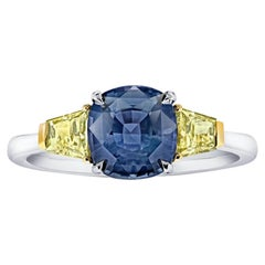 2.44 Carat Cushion Greenish Blue Sapphire and Diamond Platinum and 18k Ring