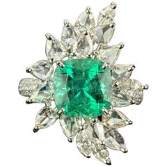 2.44 Carat Cushion, Shaped Colombian Emerald and Diamond Cocktail Ring