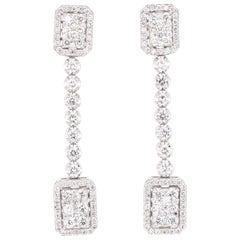 2.44 Carat Diamond Dangling 14 Karat White Gold Earrings