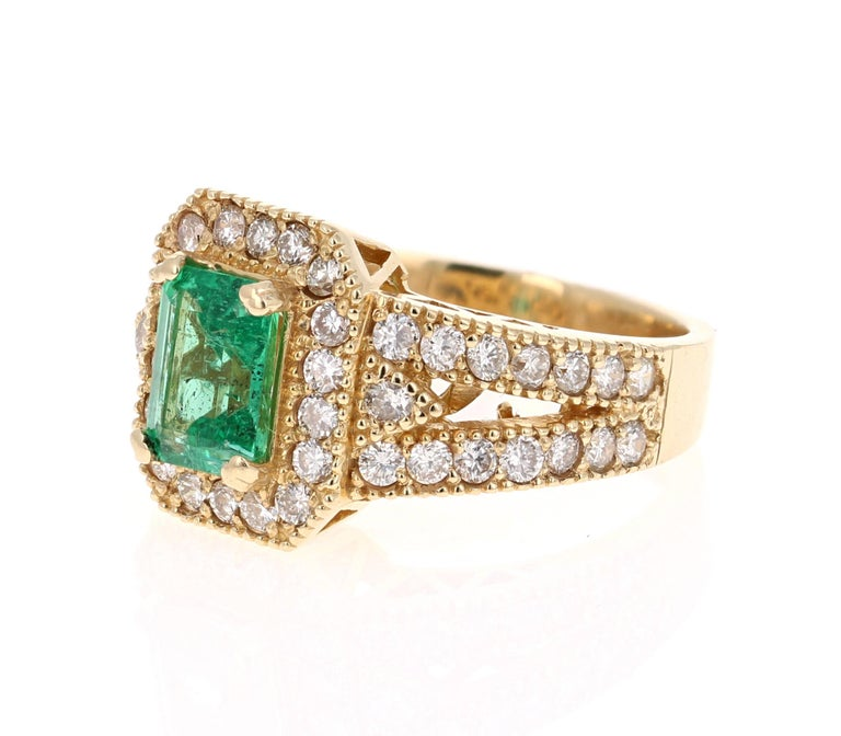 Romantic 2.44 Carat Emerald Diamond 14 Karat Yellow Gold Ring