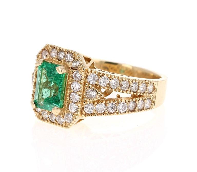 Romantic 2.44 Carat Emerald Diamond 14 Karat Yellow Gold GIA Certified Ring