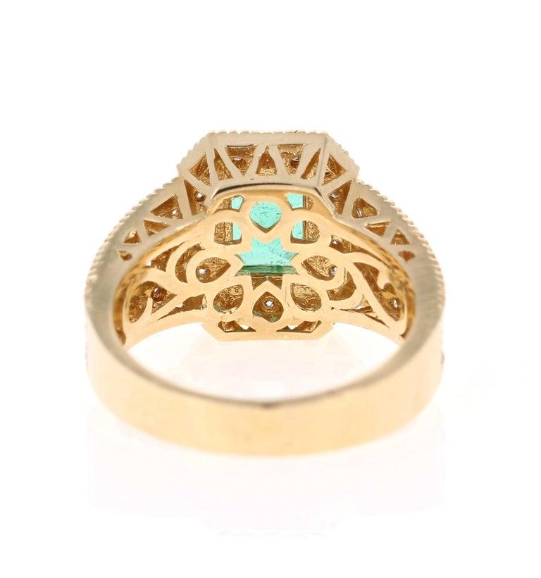 Emerald Cut 2.44 Carat Emerald Diamond 14 Karat Yellow Gold Ring