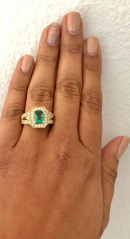 Women's 2.44 Carat Emerald Diamond 14 Karat Yellow Gold Ring