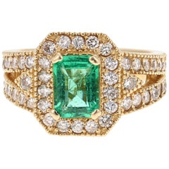 2.44 Carat Emerald Diamond 14 Karat Yellow Gold Ring