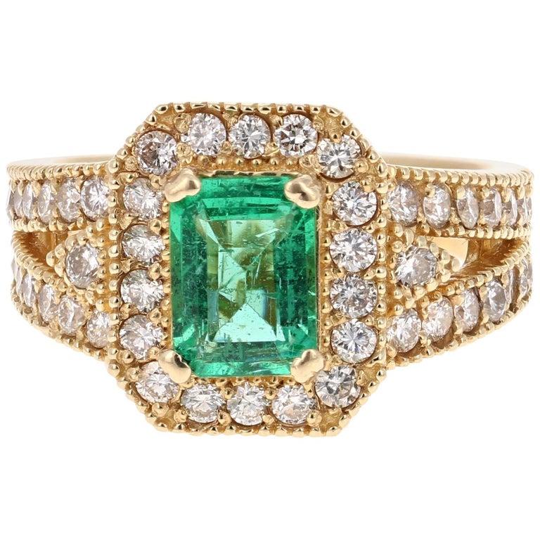 2.44 Carat Emerald Diamond 14 Karat Yellow Gold Ring