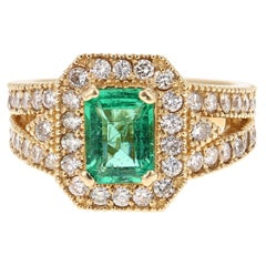 2.44 Carat Emerald Diamond 14 Karat Yellow Gold GIA Certified Ring