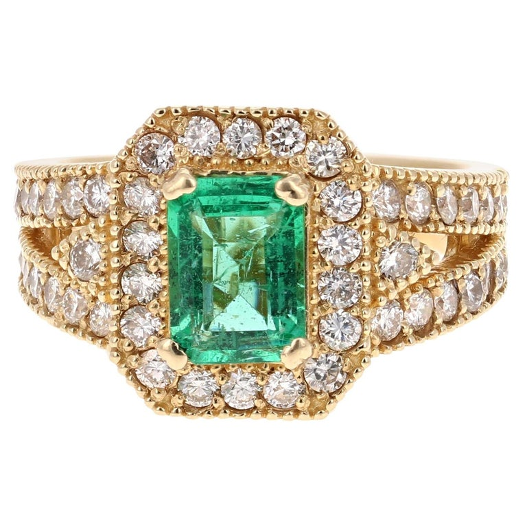 2.44 Carat Emerald Diamond 14 Karat Yellow Gold GIA Certified Ring