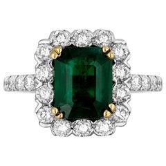 2.44 Carat Emerald Diamond Cocktail Ring
