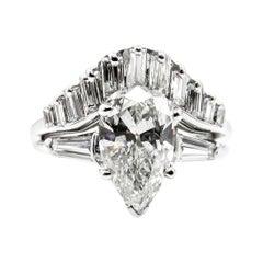 2.44 Carat Estate Vintage Pear Shaped Diamond White Gold Ring Wedding Set