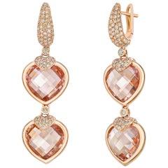 24.4 Carat Morganite Heart Earrings in 18 Karat Gold with Diamond