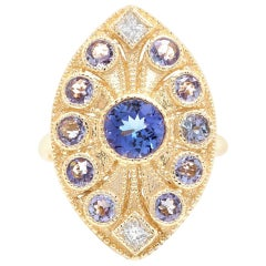 2.44 Carat Natural Tanzanite and Diamond 14 Karat Solid Yellow Gold Ring
