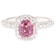 2.44 Carat Pink Sapphire Diamond 18 Karat White Gold Engagement Ring