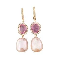 2.44 Carat Rose-Cut Pink Sapphire and Pearl Dangle Earrings