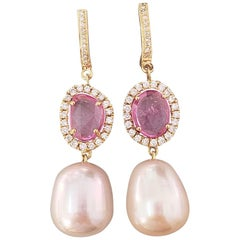 2.44 Carat Rose-Cut Pink Sapphire and Pearl Dangle Earrings