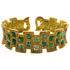 24.40 Carat Emerald Mosaic Art Deco Style Modern Coomi Cuff Bracelet