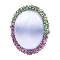 24.47 Carat Medallion Oval Cabochon Chalcedony Pink Sapphire Tsavorite Gold Ring