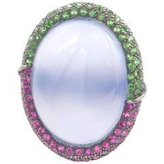24.47 Carat Oval Cabochon Chalcedony Pink Sapphire Tsavorite Gold Ring