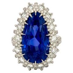 24.49 Carat AGL Certified Ceylon No Heat Sapphire and Diamond Ring