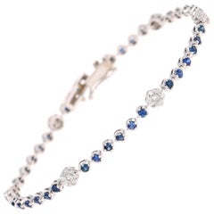 2.45 Carat Blue Sapphire Diamond Bracelet 14 Karat White Gold