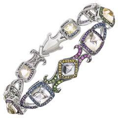 24.5 Carat Burmese Sugarloaf Sapphire Bracelet in 18 Karat White Gold