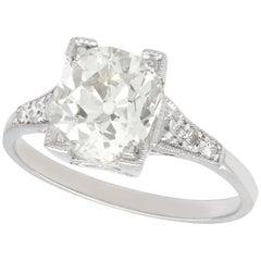 2.45 Carat Diamond and Platinum Solitaire Engagement Ring Antique Circa 1930