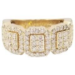 2.45 Carat Diamonds Mens Ring Band 14 Karat Yellow Gold