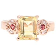 2.45 Carat Emerald Cut Citrine, Sapphire and Diamond 14 Karat Rose Gold Ring