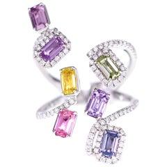2.45 Carat Emerald Cut Fancy Sapphire Set in a Designer Ring