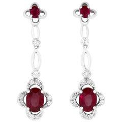 2.45 Carat Oval Ruby and 0.28 Carat Diamond Chandelier Drop Earrings