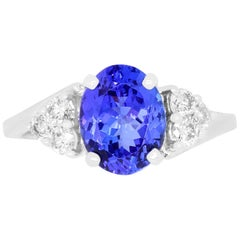 2.45 Carat Oval Shaped Tanzanite and 0.37 Carat Diamond Ring