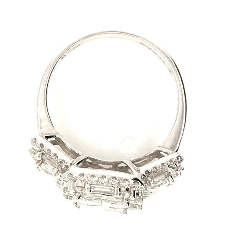 Modern 2.45 Carat Princess Cluster Diamond Ring with Baguettes and Rounds For Sale