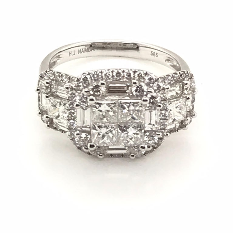 Princess Cut 2.45 Carat Princess Cluster Diamond Ring with Baguettes and Rounds For Sale
