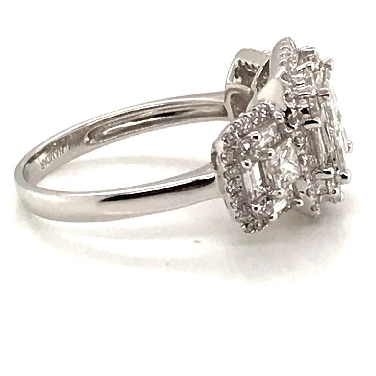 Women's 2.45 Carat Princess Cluster Diamond Ring with Baguettes and Rounds For Sale