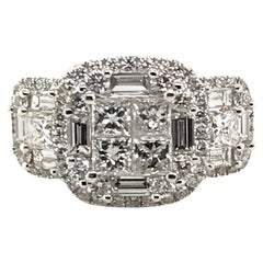 2.45 Carat Princess Cluster Diamond Ring with Baguettes and Rounds